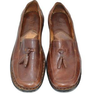 Born Brown Leather Moccasins Loafers Shoes 7.5